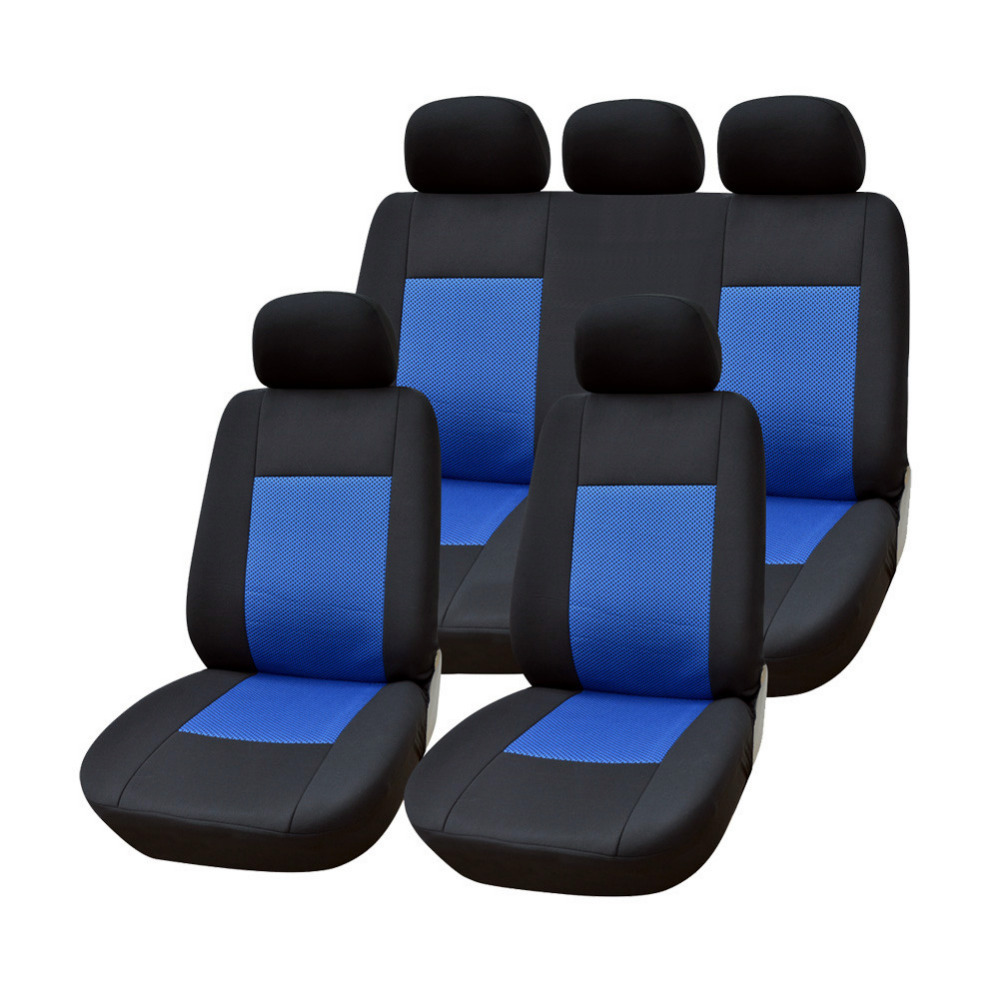 AUTOYOUTH Jacquard Fabric Blue Full Car Seat Cover Set Universal Fit Most Covers Interior Accessories