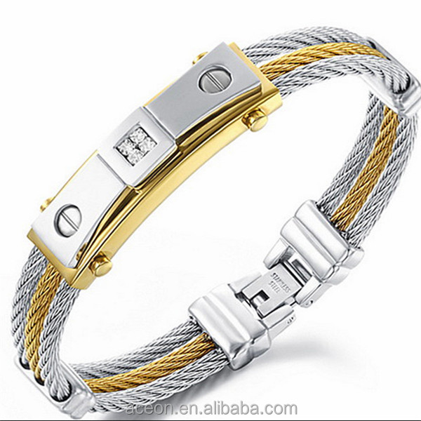 Yiwu Aceon Stainless Steel Dubai Gold Jewelry Fashion Men's 3 Layers mens wire bangle bracelet