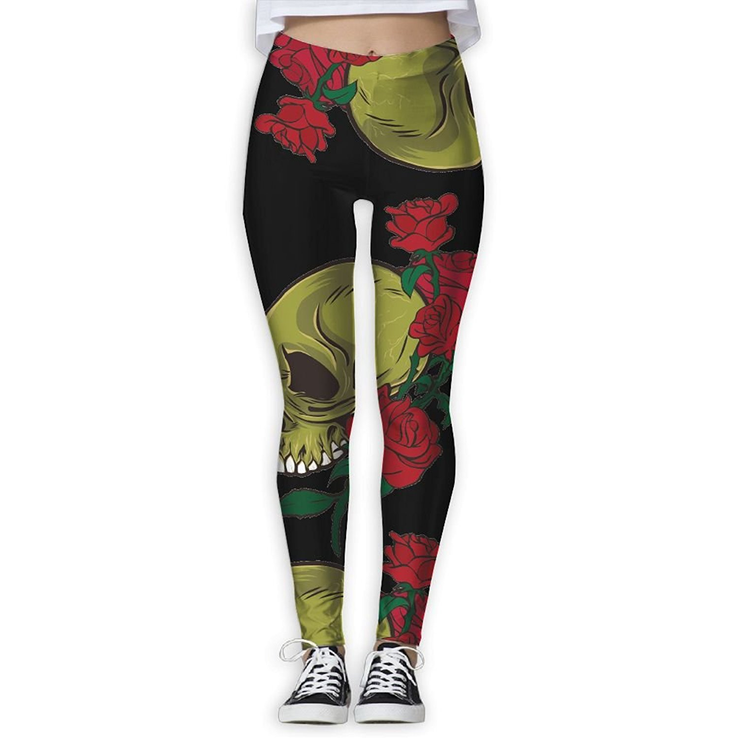 43f2589003fdd Get Quotations · DF4s Pants Flower Skull Women Printed Athletic Yoga Pants  Exercise Athletic Pants Fashion High Waisted Yoga