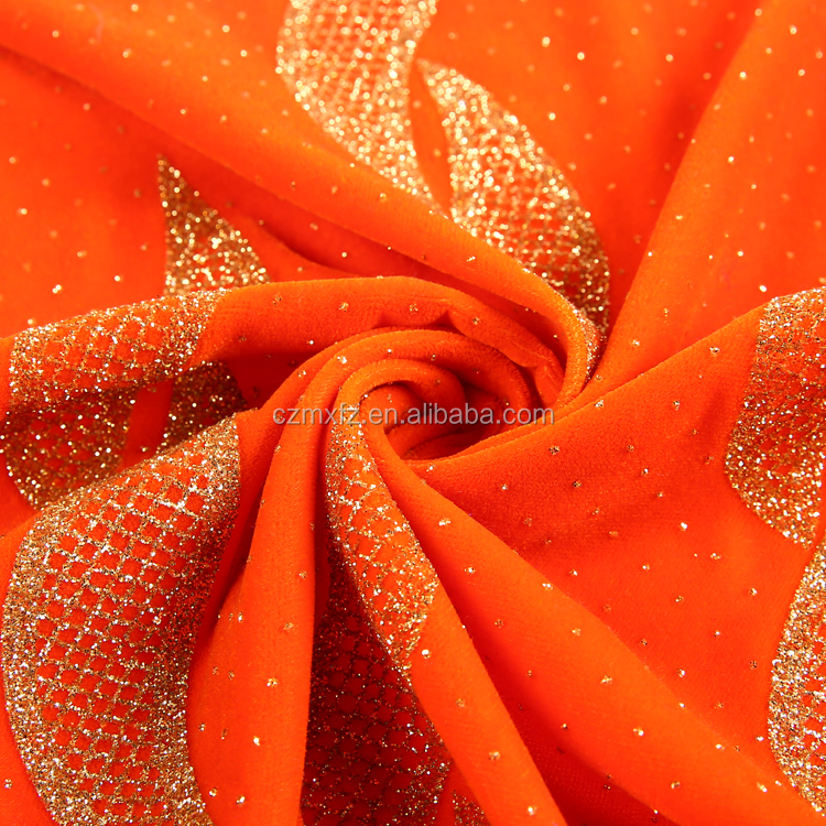 China supplier yarn dyed orange velvet like sofa abaya fabric velvet saudi