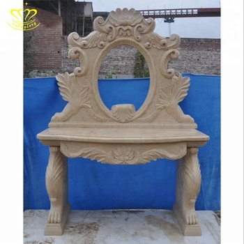 Fashionable Beige Marble Hand Carved New Product Bathroom Wash Basin Dressing Table