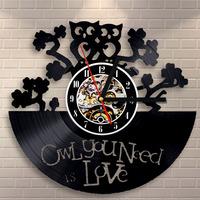 Vintage Unique Clock Creative Double Owl Vinyl Wall Clock Living Room Wall Decoration Mounted Clock