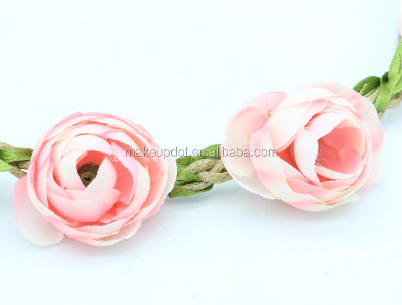 Cheap wholesale pink beach flower headband women elastic hair band hair  accessories 4549cc7d64b7