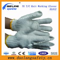 Cheap Raw White Poly Cotton Knitted Gloves Full Finger Girls Knitted Gloves