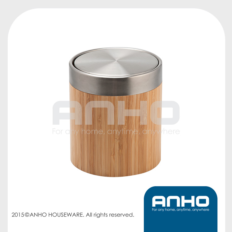 Anho bamboo+stainless steel swing lid mini waste paper bin 1.25L