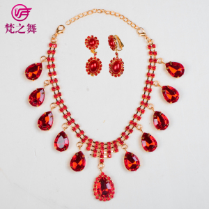 P-9054 Stage matching red rhinestone belly dance necklace earring set jewelry for children