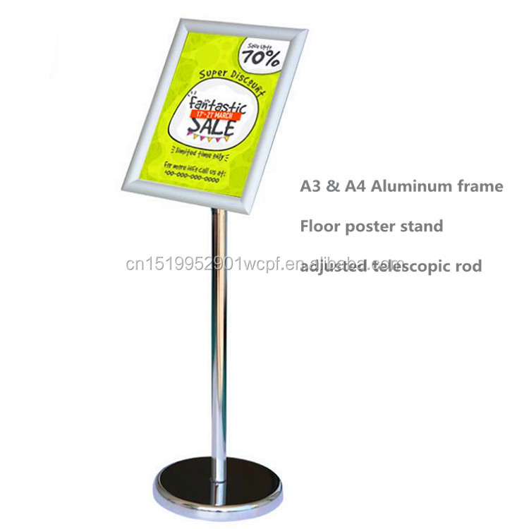 Snap Aluminum floor A3 frame stand poster <strong>displays</strong>,metal <strong>display</strong> stand signboard