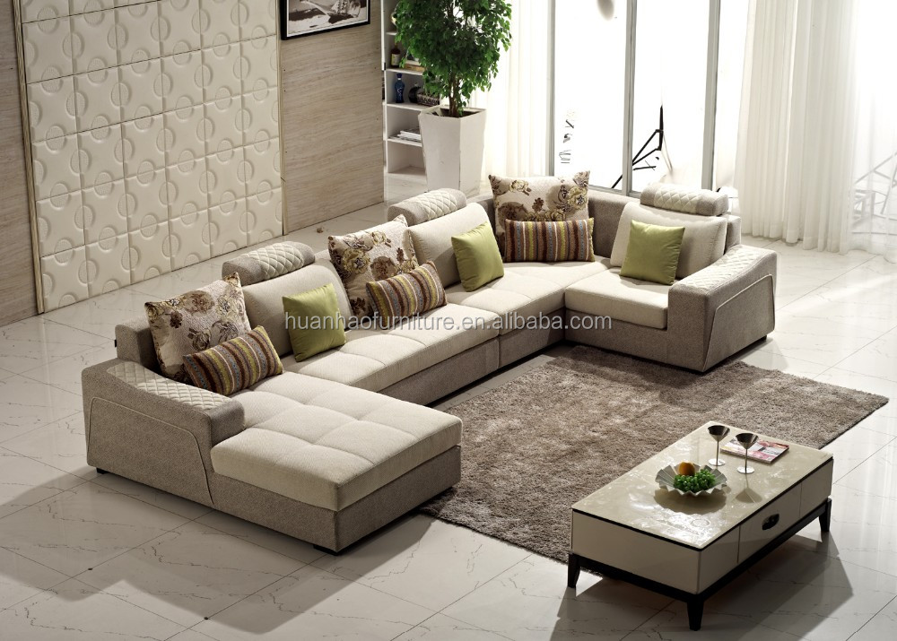 Fashion luxury living room furniture fabric corner sofa sets S050