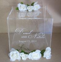 top grade clear custom acrylic printed wedding invitation card box wholesale