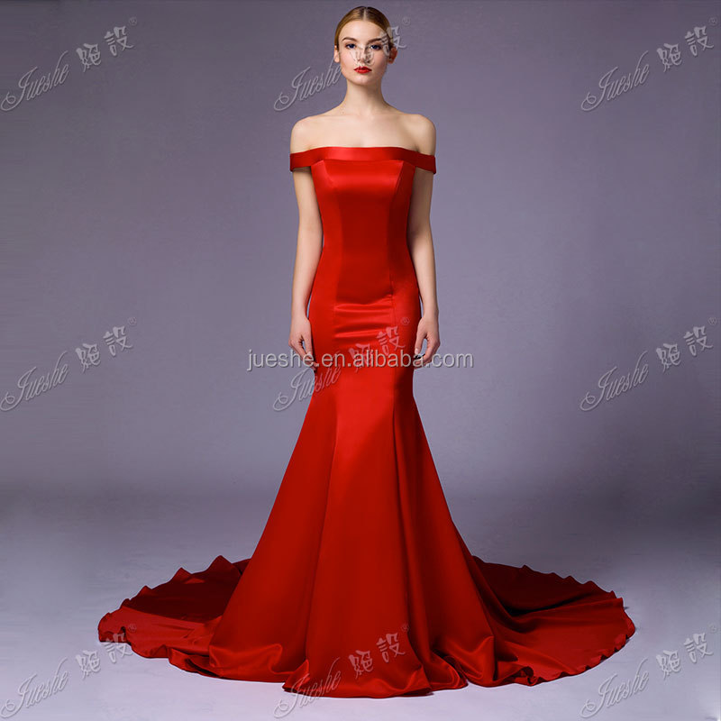 New Simple But Elegant Red Off The Shoulder Satin Mermaid Evening ...