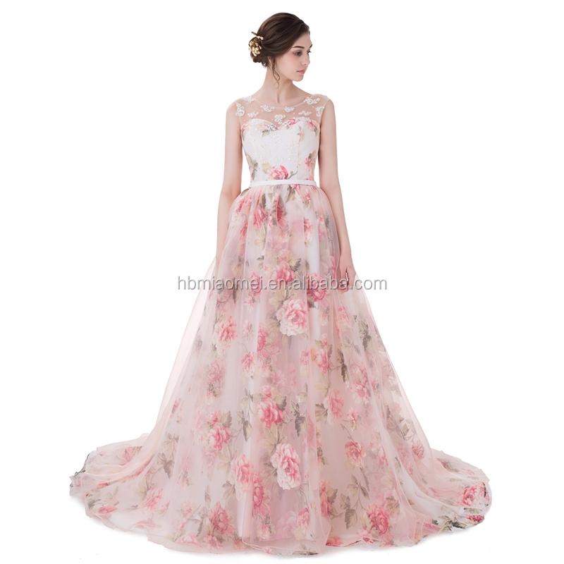 2017 Latest Design Gorgeous Flower Printed Pink Chiffon Puffy Long Tail Ball Gown Alibaba Wedding Dress