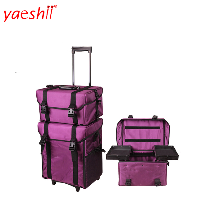 Yaeshii Nylon 2 in 1 Large Cosmetic Bag With Drawers