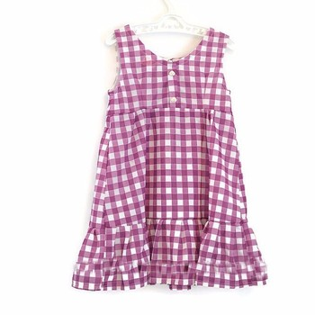 Wholesale Baby Girl Clothes Casual Style Purple Gingham Sleeveless Ruffle Cotton Dress