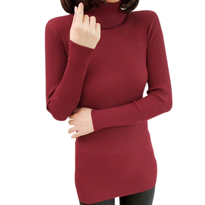 Slim Knitted Turtleneck Long Sweater Women Pullover Winter Sweaters Fashion 2015 Autumn Ladies Jumpers Pull Femme