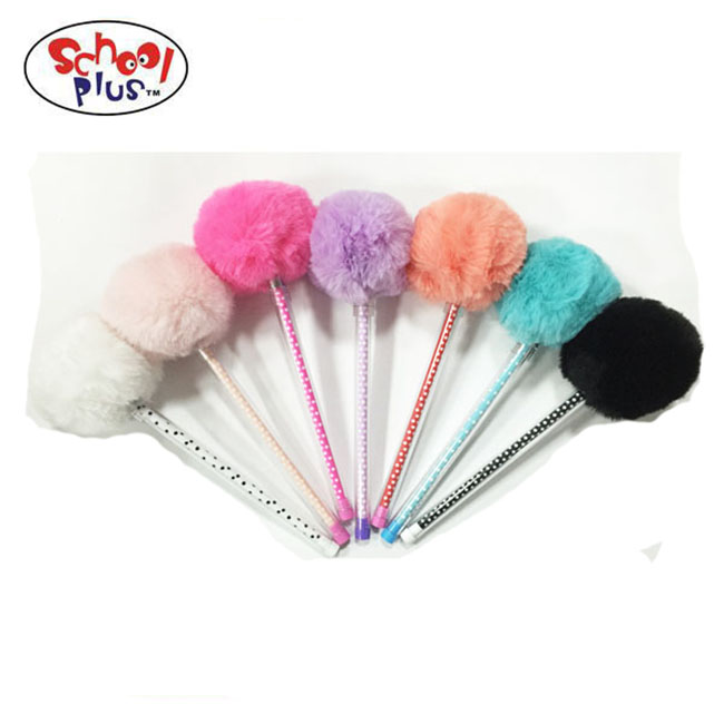 2017 new fashion colorful fuzzy ball pen cute and lovely ballpoint pen