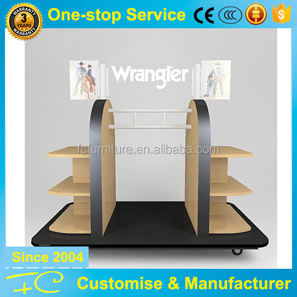 Clothing Or Bag Shoes Movable Wood Table Top Product Display Shelf Showcase