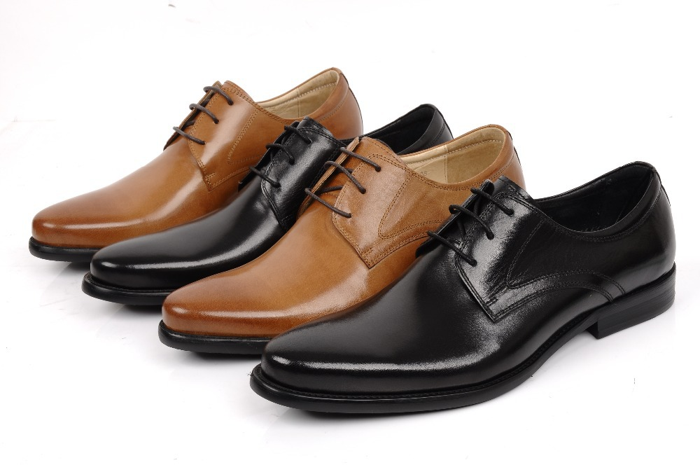 c2a935be37477 Get Quotations · Black   brown mens dress shoes fashion oxfords shoes  pointed toe business shoes genuine leather mens