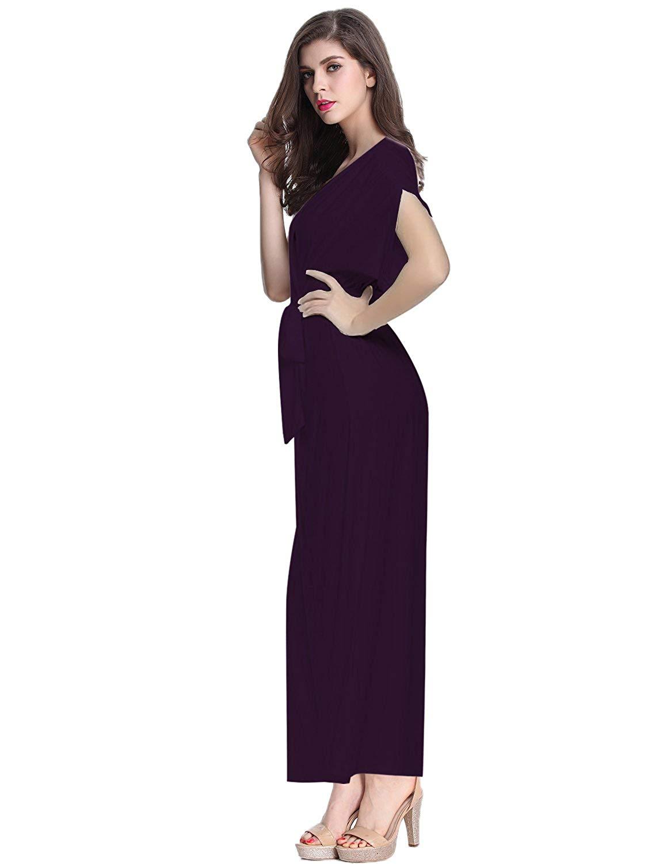 bd8b159f3f58 Get Quotations · E.JAN1ST Women s Maxi Long Dress Wrap V Neck Empire Waist  Belted Short Sleeve Dress