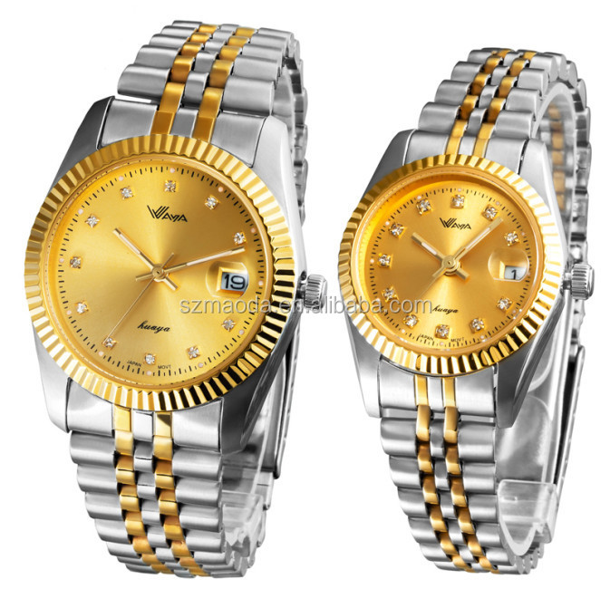 fashion gold stainless steel watch couple lover wrist watch
