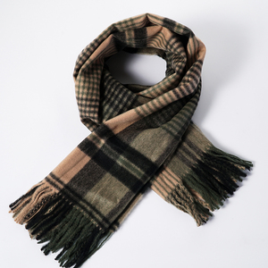 Fashion Popular Knit Scarf Winter Muffler Ladies Tartan Plaid Square Acrylic Scarf