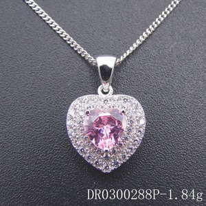 New Designs 925 Sterling Silver Heart Shaped Pink Zircon Pendant for Woman