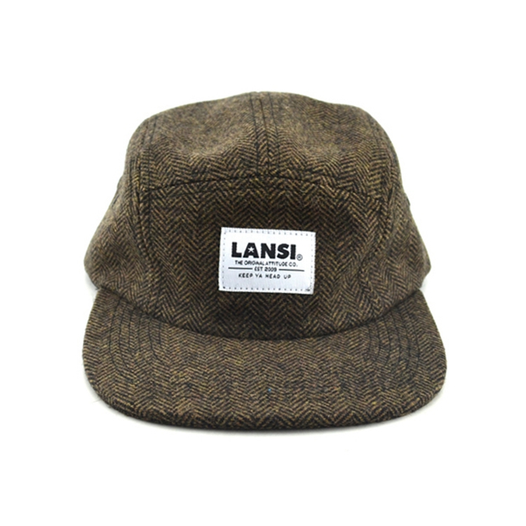 Custom logo plain wol 5 panel cap