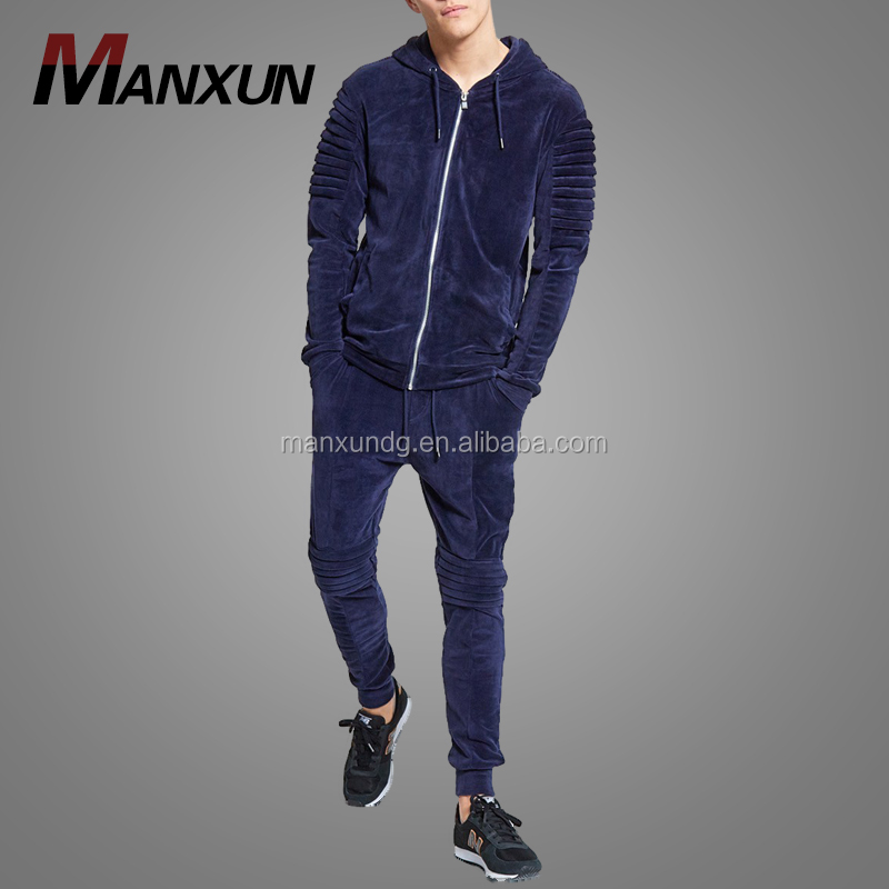 Fashion Mens Slim Fitted Blue Velvet Track Suit Sport Zipper Plain Gym Hoodie Tracksuit