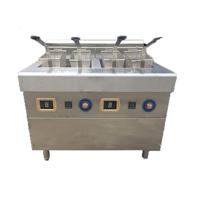 Gas druk turkije weegbree chips friteuse machine automatische professionele snack friteuse mand lift