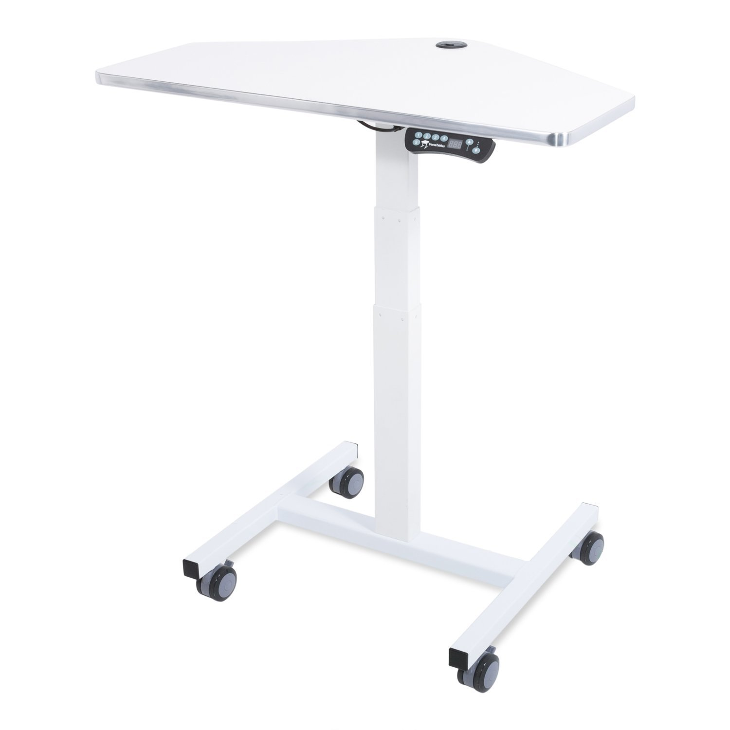 Sit-to-Stand Mini Desk Laptop Computer Cart, Ergonomic Electric Height Adjustable Mobile Workstation (White)