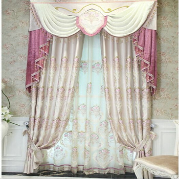 Ready made Luxury fabric curtain with embroidery curtain valance