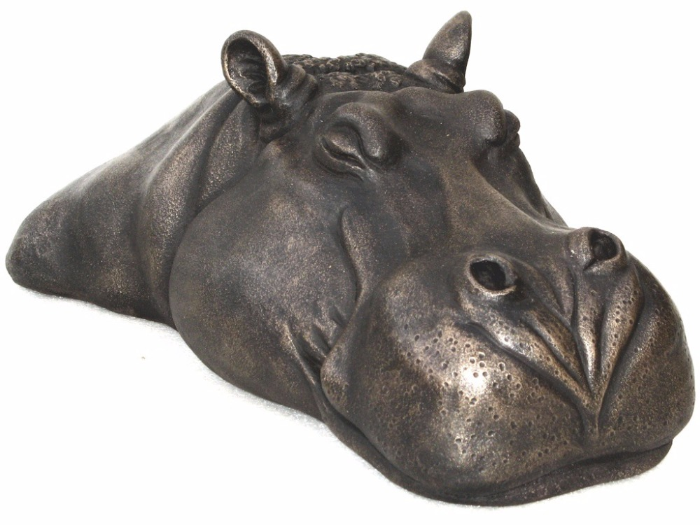 bronze hippo head statue sculpture