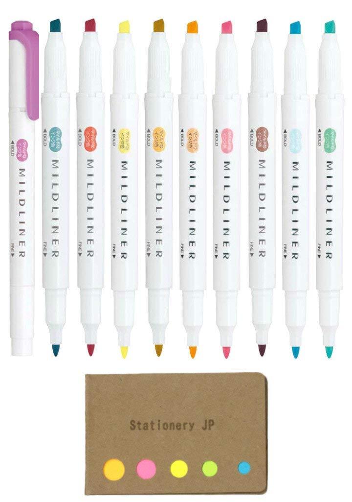 Zebra Mildliner Double-Sided Highlighter 10 Colors, Fine/Bold, Mild & Fluorescent Color, Deep & Warm Color, Sticky Notes Value Set