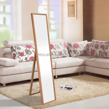 INTCO hot selling Wood color floor standing mirror