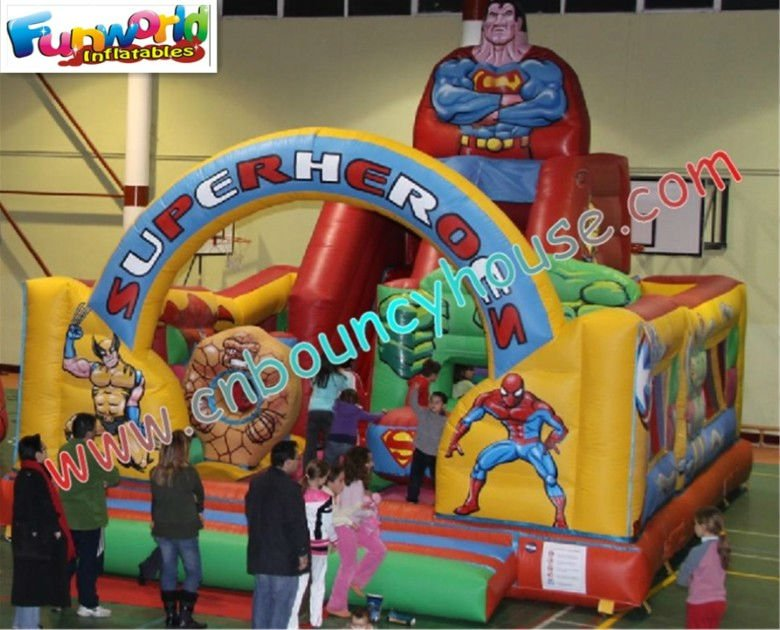 Professional superman inflatables bouncy jumping castle for kids