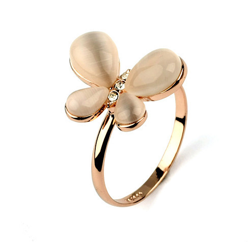 2e8ccd63b Romantic love butterfly ring with opal engagement ring simple design rose  gold insect jewelry wholesale
