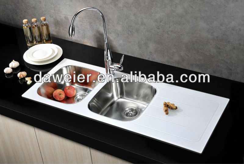 Gtw11646r White Tempered Glass Kitchen Sink   Buy Tempered Glass Kitchen  Sink,Steel Queen Kitchen Sinks,Stainless Steel Kitchen Sink With Drain  Board ...