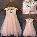Flower Girl Summer Princess Dress Kid Baby Party Wedding Lace Hollow Backless Patchwork Sleeveless Bead Tulle