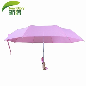3 Folding Pink Duck Head 21inch Automatic Umbrella