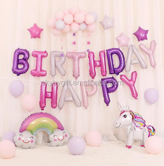 """HAPPY BIRTHDAY 16/""""inch SELF-INFLATING BALLOON BANNER BUNTING PARTY LARGE BALOONS"""