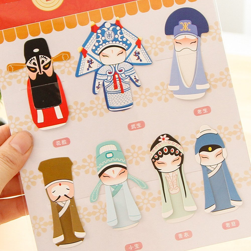 Cestlafit Vintage Classical Peking Opera Paper Clip Bookmarks, Chinese Stytle Bookmarks For Children, bookmark craft,bookmark gift, Pack of 7