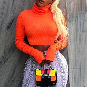 2019 latest hot Women fashion 3 colors ladies sexy high neck crop top long sleeves t-shirt blouse