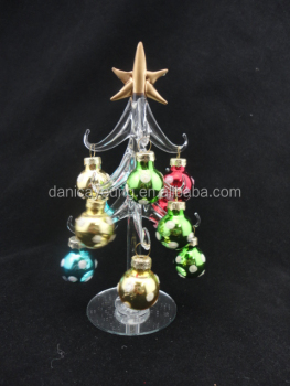 discount led lighted glass christmas trees skirt for home decorations - Glass Christmas Tree Decorations