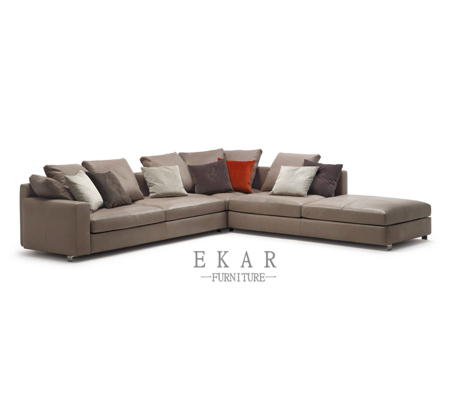 Contemporary Style 2018 New Living Room Furniture 5 Seater Cowhide Genuine Leather Sectional Sofa Sets
