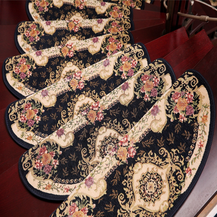 Blue One Flower Loop Pile Padding Automotive 100 % Polyester Machine Jacquard Carpet For Stairs