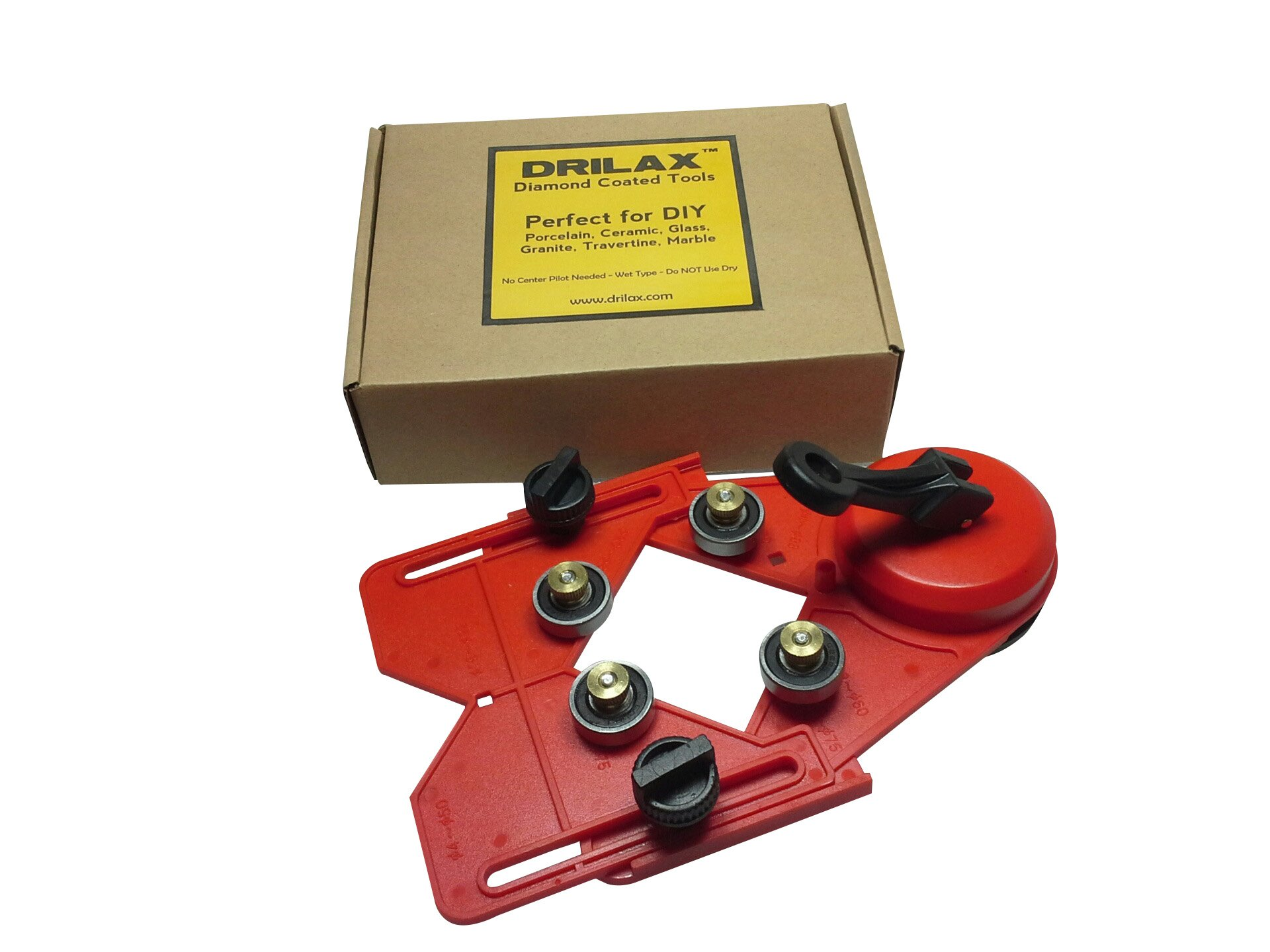 DRILAX Drill Bit Hole Saw Guide Jig Fixture Vacuum Suction Base with Water Coolant Hole