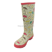fashion umbrella printing flat women long rubber boots