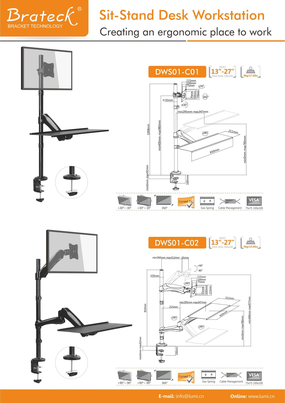 Estructura De Resorte De Gas Sentarse Stand Altura Ajustable Mesa De ...