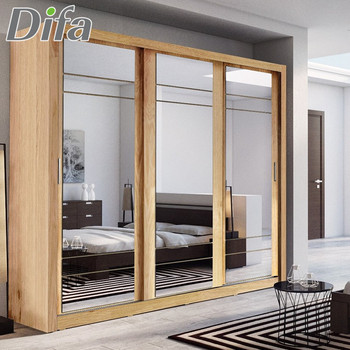 Custom Modern Wardrobe 3 Sliding Mirrored Doors Wardrobe Closet