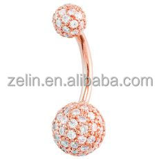 Kiwi Diamond Diamond Pave 14K Rose Gold Belly Button Ring 5mm & 8mm Balls