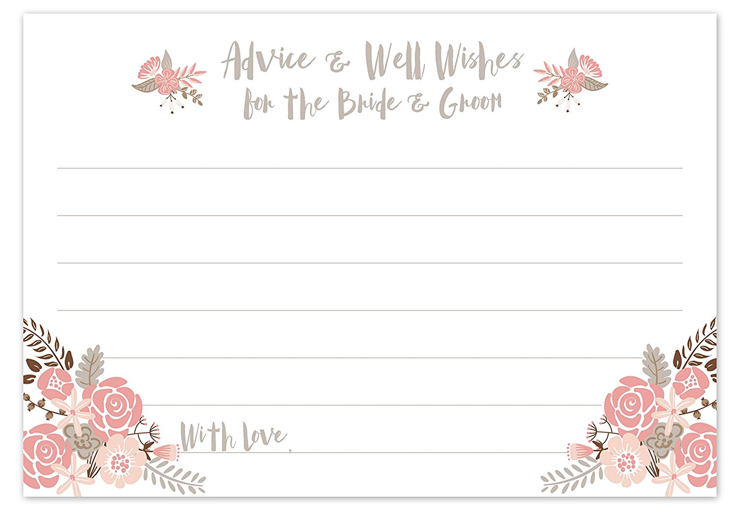 boho floral wedding advice cards advice well wishes for the bride groom